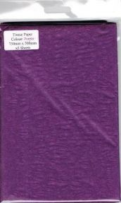 5 x Purple Tissue Paper, Large Sheets - 750mm X 500mm - SC59